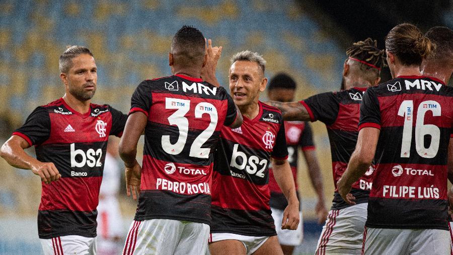 Time do Flamengo festeja gol em jogo no Maracanã - Alexandre Vidal/Flamengo