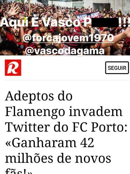 Fernando Madureira, o Macaco, líder de uma organizada do Porto, não gostou de manifestação de apoio de torcedores do Flamengo - @macacolidersd/Instagram