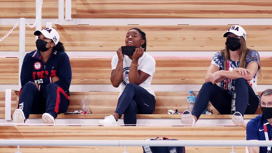 Estrela da ginástica, Simone Biles não escondeu sua torcida pela brasileira Rebeca Andrade na prova do salto - Jamie Squire/Getty Images