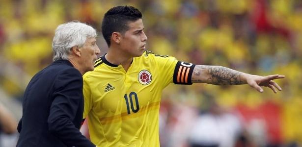 James com o técnico da seleção da Colômbia Jose Pekerman