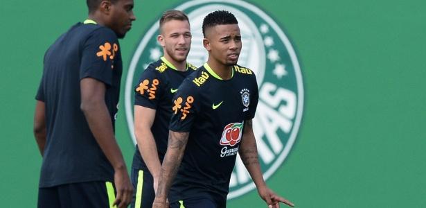 Jesus em sua passagem pelo CT do Palmeiras, com a seleção, mês passado