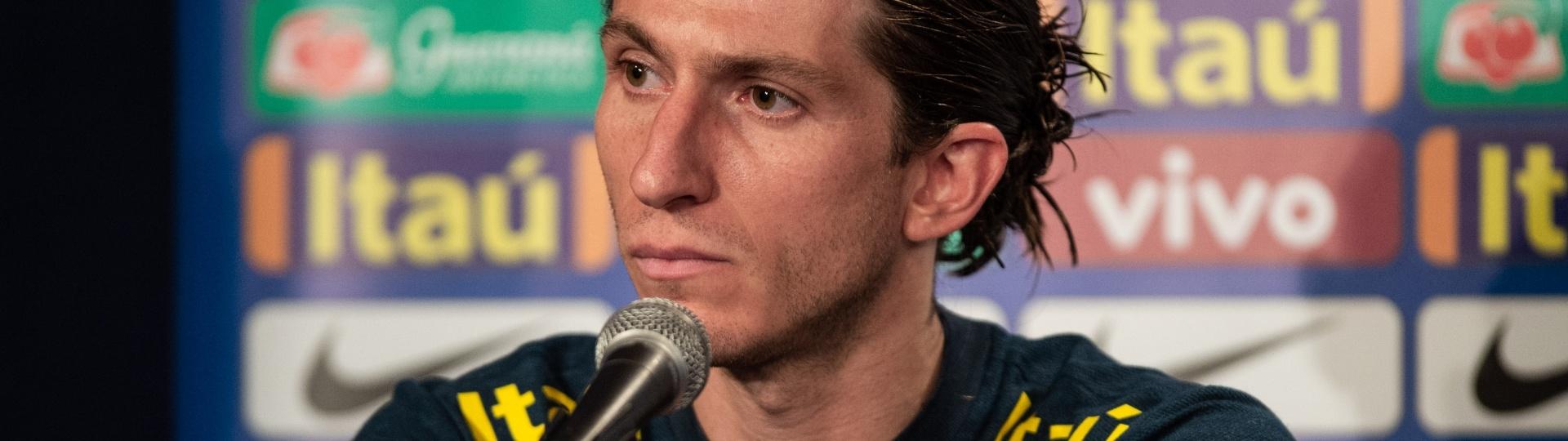 Filipe Luís, durante entrevista coletiva da seleção brasileira