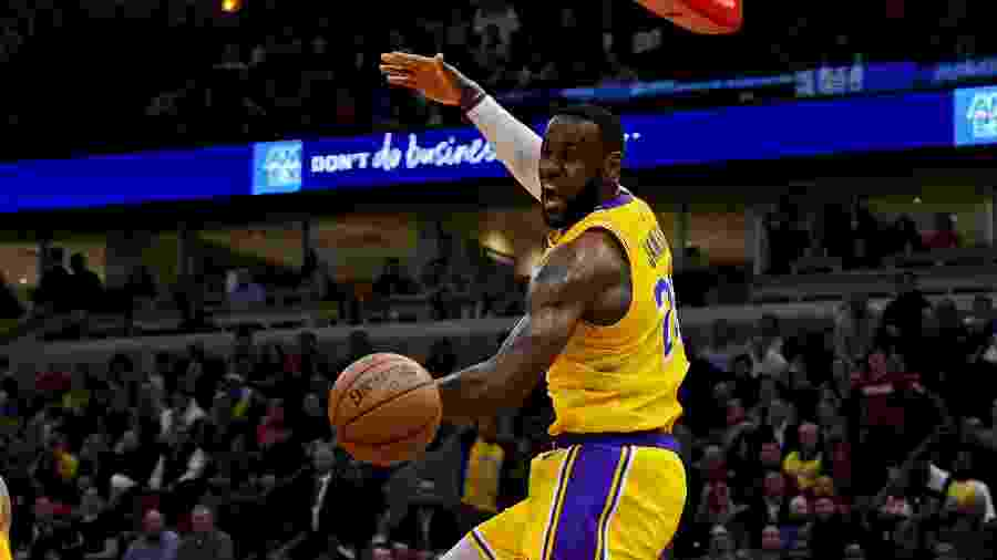 LeBron James durante partida Los Angeles Lakers x Chicago Bulls - Matt Marton-USA TODAY Sports