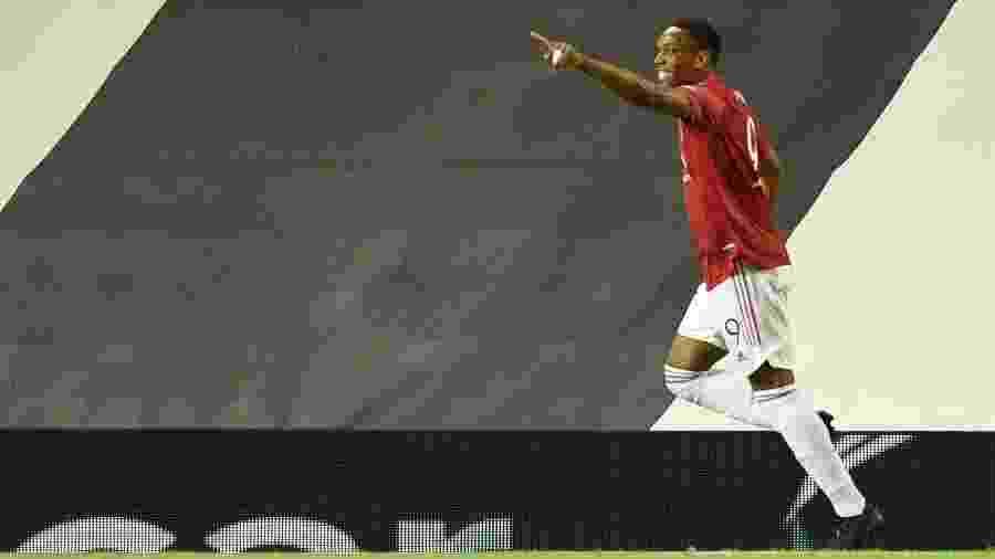 Martial comemora gol do Manchester United contra o Lask, pela Liga Europa - Oli SCARFF / AFP