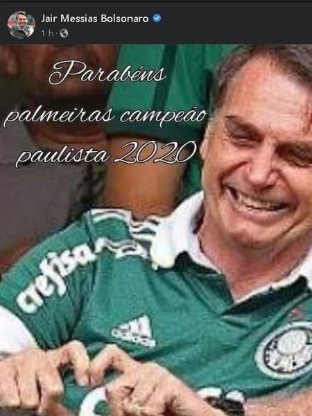 Bolsonaro parabeniza o Palmeiras - reprodução/Facebook/Jair Bolsonaro