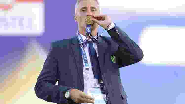 Hernán Crespo, técnico do Defensa y Justicia, comemora título da Copa Sul-Americana 2020 - Pool/Getty Images - Pool/Getty Images
