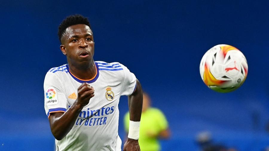 Vinicius Junior em ação na partida entre Real Madrid e Mallorca, pelo Campeonato Espanhol - AFP