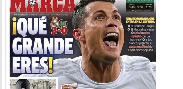 Jornal Marca destacou a participação de Cristiano Ronaldo na vitória do Real Madrid