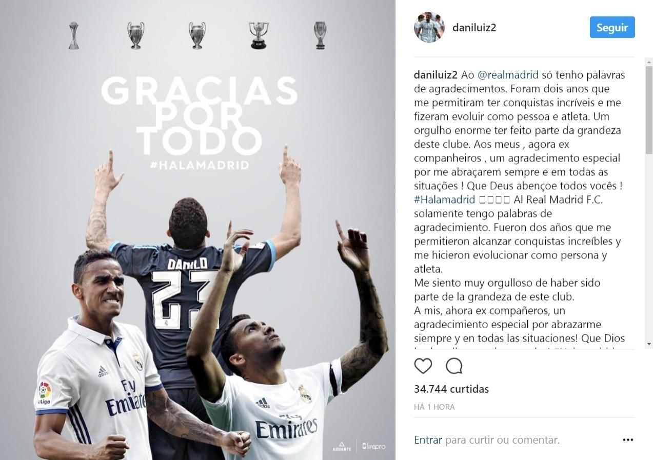 De saída para o Manchester City, Danilo agradece ao Real Madrid