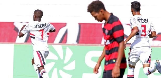Toró, do São Paulo, comemora no duelo contra o Vitória, vencido nos pênaltis