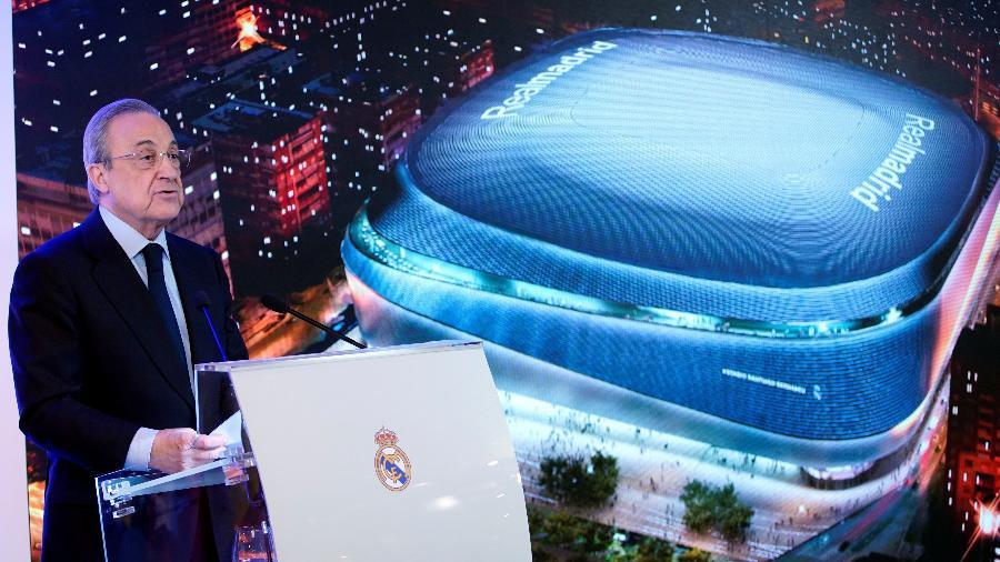 Presidente do Real Madrid, Florentino Pérez apresentou o projeto de reforma do Santiago Bernabéu - REUTERS/Juan Medina