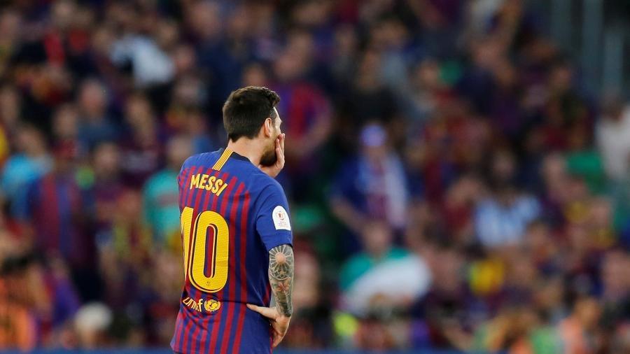 Lionel Messi durante jogo entre Barcelona e Valencia  - Marcelo Del Pozo/Reuters