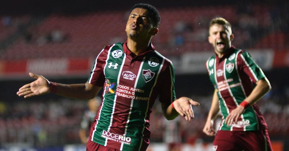 Marcos Paulo comemora gol do Fluminense contra o São Paulo