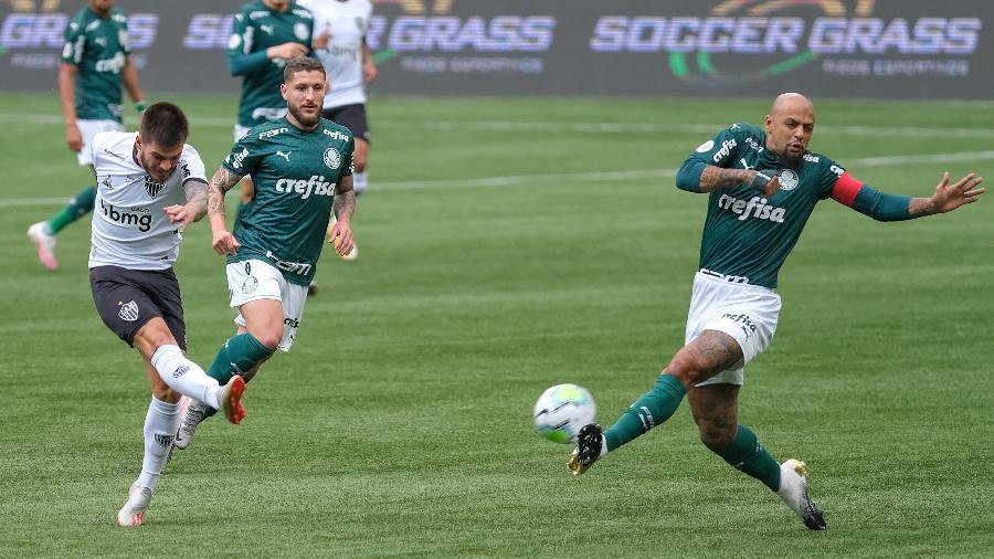 Lance do confronto entre Palmeiras e Atlético-MG - Marcello Zambrana/AGIF