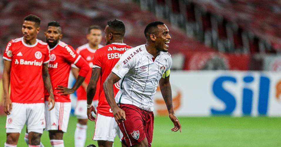 Lucca Claro comemora gol pelo Fluminense contra o Inter, em jogo do Brasileirão
