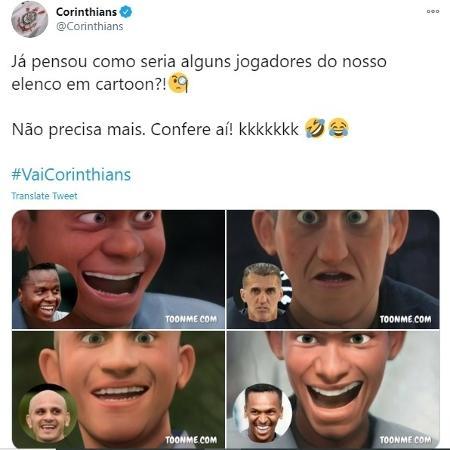 Corinthians mostra jogadores em versão desenho animado - Reprodução