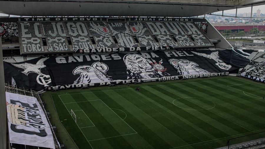 Mosaicos no estádio do Corinthians para o clássico contra o Palmeiras - Felipe Spak/Agência Corinthians