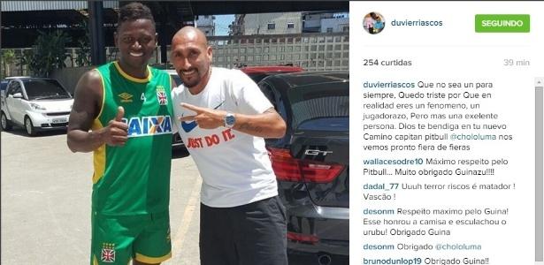 Riascos postou foto e mensagem para Guiñazu em dia de despedida do argentino - Reprodução / Instagram