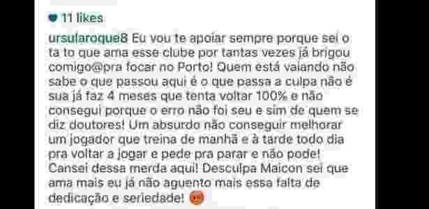 Mulher de Maicon critica departamento médico do Porto no Instagram - Reprodução/Instagram - Reprodução/Instagram