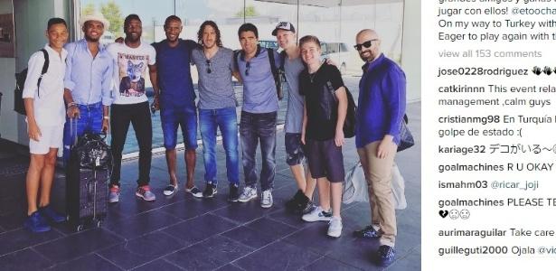 Puyol postou foto com Deco e Abidal antes de viajar para a Turquia