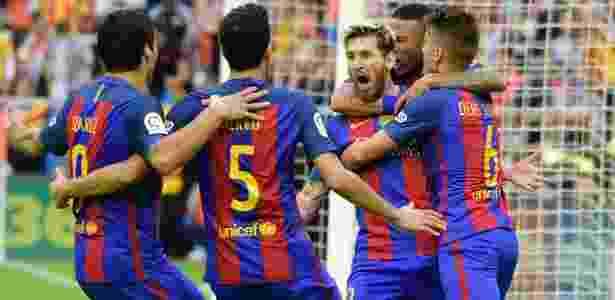 Messi comemora contra Valencia - AFP PHOTO / JOSE JORDAN  - AFP PHOTO / JOSE JORDAN