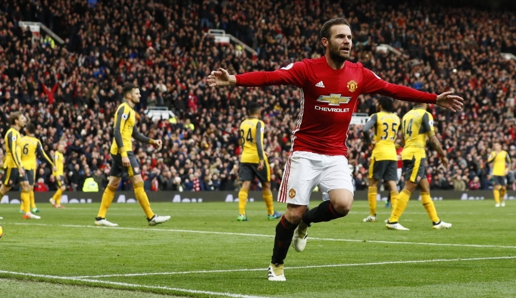 Mata celebra gol do United contra o Arsenal