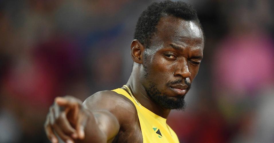 Bolt antes de começar a decisão do revezamento 4x100 m no Mundial de Londres