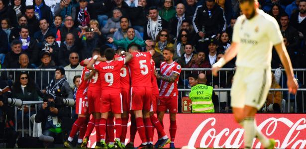 Girona visitou o Real Madrid no fim de semana e venceu por 2 a 1, de virada - GABRIEL BOUYS/AFP