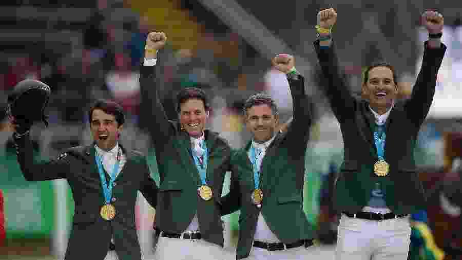 Equipe brasileira garantiu vaga olímpica com ouro no Pan de Lima - Alexandre Loureiro/COB