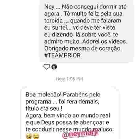 Neymar troca mensagem com Prior - Reprodução/Instgram