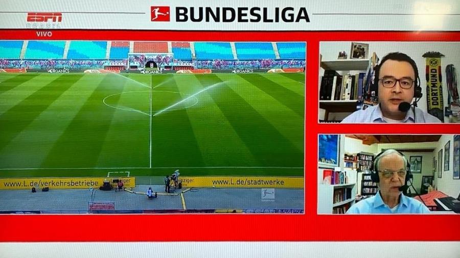 Primeira transmissão da Bundesliga na ESPN em meio à pandemia da covid-19 foi feita de maneira remota - Reprodução