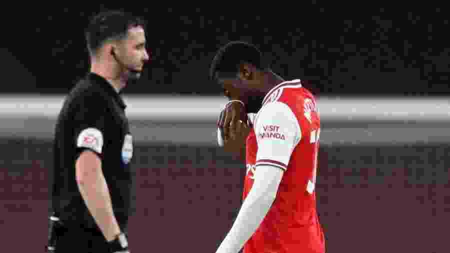 Nketiah foi expulso após poucos minutos em campo durante jogo entre Arsenal e Leicester - Shaun Botterill/Pool via REUTERS