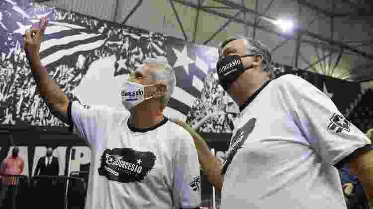 Presidente Durcesio Mello e vice Vinicius Assumpção após eleição presidencial do Botafogo - Vitor Silva/Botafogo - Vitor Silva/Botafogo