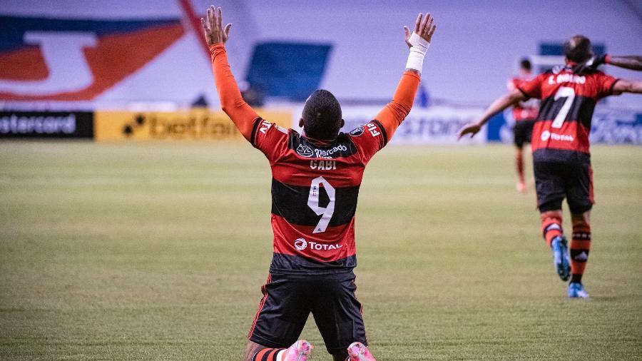 """Gabigol, do Flamengo, contra a LDU: jogo foi exibido pelo SBT contra a fnal do """"Big Brother Brasil 21"""" - alexandre Vidal / Flamengo"""