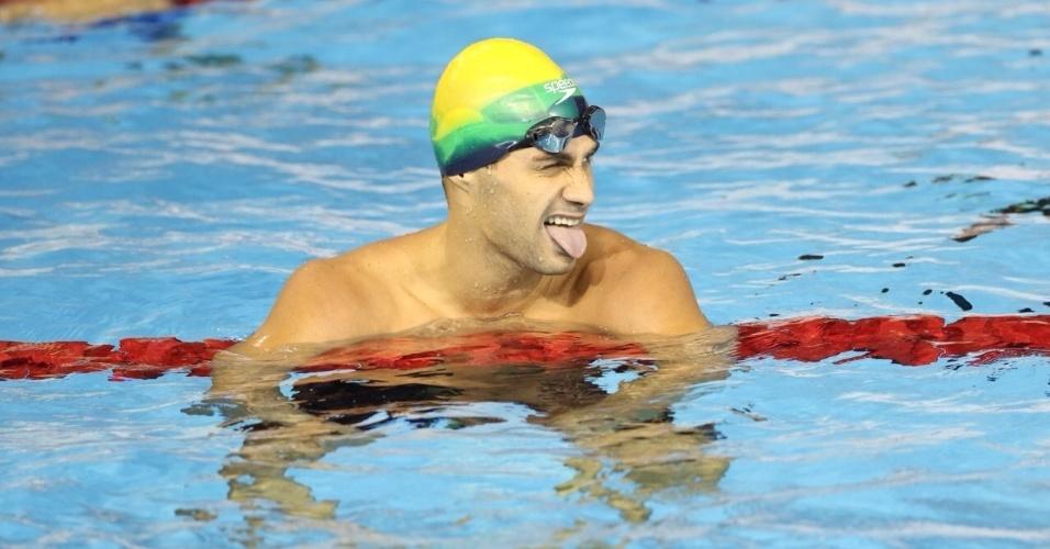 Léo de Deus faz careta depois da prova dos 400m livre. Brasileiro terminou na terceira colocação e ficou com o bronze