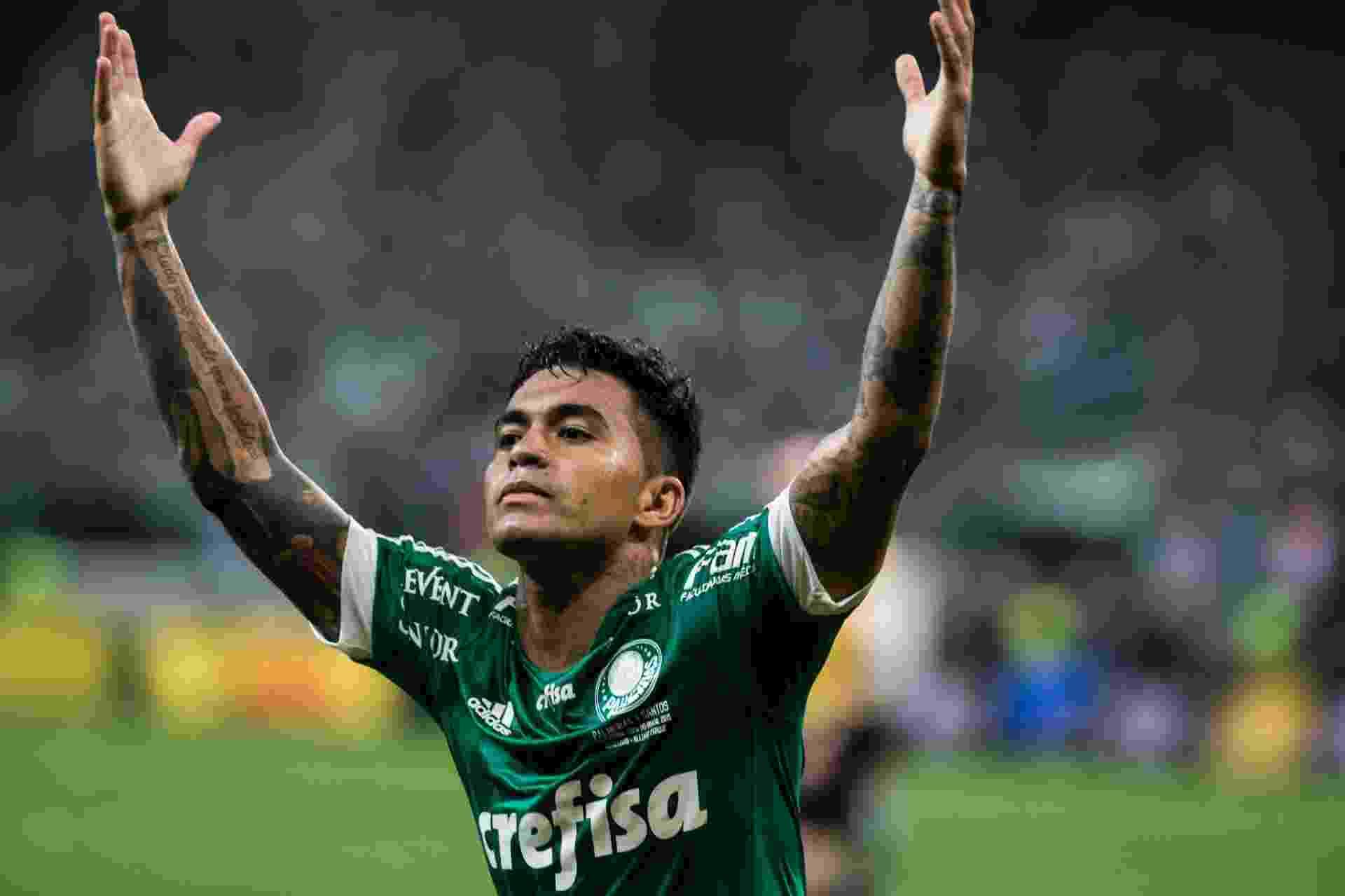 Dudu comemora o primeiro gol do Palmeiras sobre o Santos - Diego Padgurschi /Folhapress