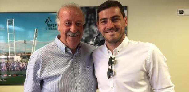Casillas e Vicente del Bosque posam juntos após polêmica na Eurocopa