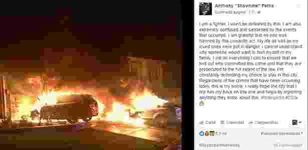 Anthony Pettis mostra carros incendiados - Reprodução/Instagram
