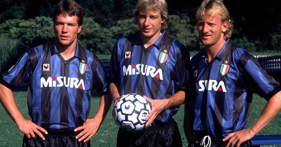 Trio alemão da Internazionale nos anos 90: Matthaus, Klinsmann e Brehme