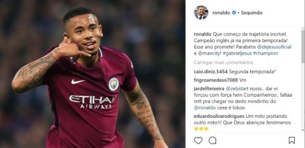 Ronaldo faz post no Instagram parabenizando Gabriel Jesus pelo título no Inglês