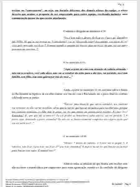 Trecho da ação trabalhista de Bruno Silva em que há uma transcrição de um suposto áudio - Divulgação  - Divulgação