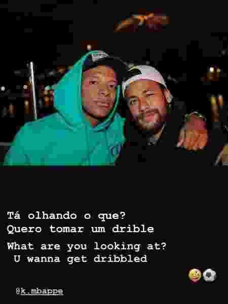 Neymar ao lado de seu companheiro de ataque Mbappé - Reprodução/Instagram