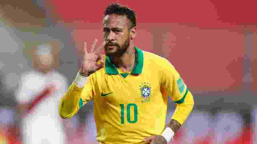 Neymar comemora o terceiro gol marcado para o Brasil contra o Peru - Pool/Getty Images