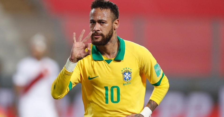Neymar comemora o terceiro gol marcado para o Brasil contra o Peru
