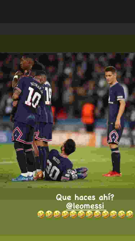 Neymar brinca com Messi sobre falta na reta final de PSG e City - Instagram - Instagram