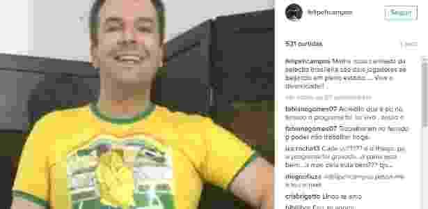 Felipeh Campos, criador da Gaivotas, em postagem recente no Instagram - Reprodução - Reprodução