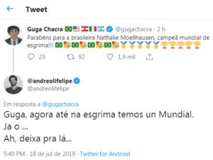 Felipe Andreoli brinca com jornalista Guga Chacra sobre Mundial do Palmeiras - Reprodução/Twitter