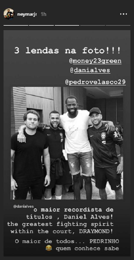 Neymar publicou foto ao lado de Draymond Green