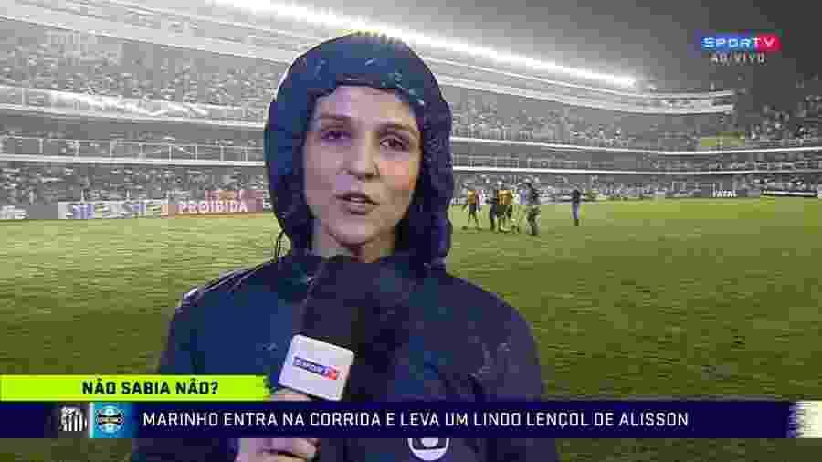 Repórter Gláucia Santiago brinca com Marinho após ser ignorada - Reprodução/SporTV