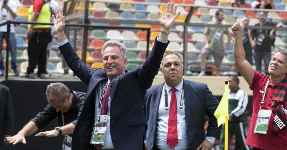 Rodolfo Landim e Marcos Braz comemoram título do Flamengo